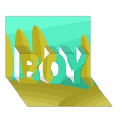 Green and yellow landscape BOY 3D Greeting Card (7x5)