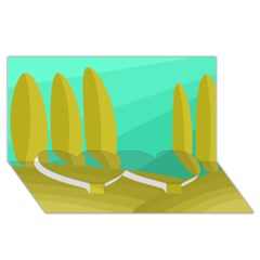 Green and yellow landscape Twin Heart Bottom 3D Greeting Card (8x4)