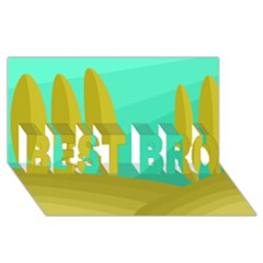 Green and yellow landscape BEST BRO 3D Greeting Card (8x4)