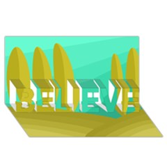 Green and yellow landscape BELIEVE 3D Greeting Card (8x4)