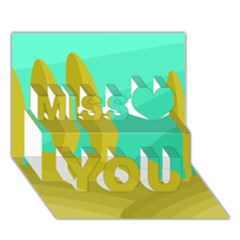 Green and yellow landscape Miss You 3D Greeting Card (7x5)