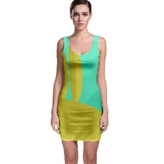 Green and yellow landscape Sleeveless Bodycon Dress