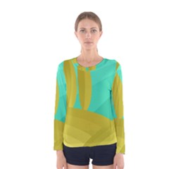 Green and yellow landscape Women s Long Sleeve Tee