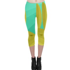 Green and yellow landscape Capri Leggings