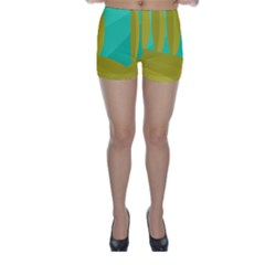Green and yellow landscape Skinny Shorts
