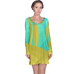 Green and yellow landscape Long Sleeve Nightdress