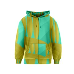 Green and yellow landscape Kids  Zipper Hoodie
