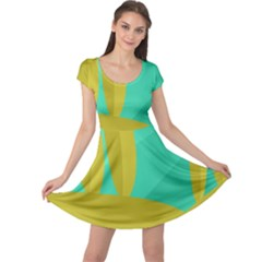 Green and yellow landscape Cap Sleeve Dresses