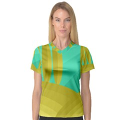 Green and yellow landscape Women s V-Neck Sport Mesh Tee