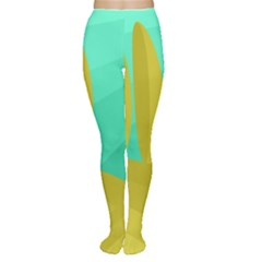 Green and yellow landscape Women s Tights