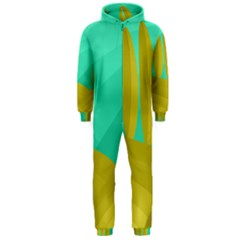 Green and yellow landscape Hooded Jumpsuit (Men)