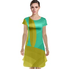 Green and yellow landscape Cap Sleeve Nightdress