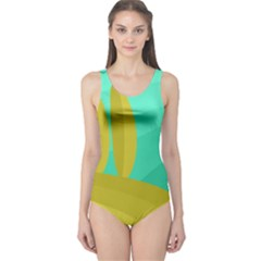 Green and yellow landscape One Piece Swimsuit