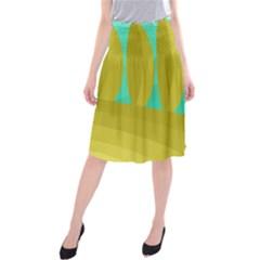 Green and yellow landscape Midi Beach Skirt