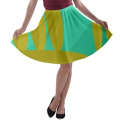 Green and yellow landscape A-line Skater Skirt