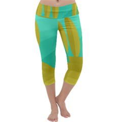 Green and yellow landscape Capri Yoga Leggings