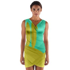 Green and yellow landscape Wrap Front Bodycon Dress