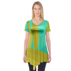 Green and yellow landscape Short Sleeve Tunic