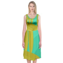 Green and yellow landscape Midi Sleeveless Dress