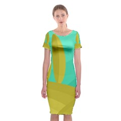 Green And Yellow Landscape Classic Short Sleeve Midi Dress