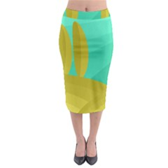 Green and yellow landscape Midi Pencil Skirt