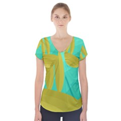 Green and yellow landscape Short Sleeve Front Detail Top