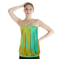 Green and yellow landscape Strapless Top
