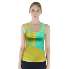 Green and yellow landscape Racer Back Sports Top