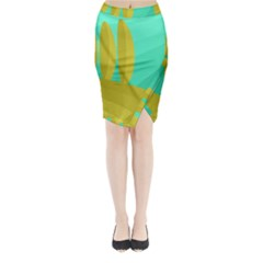 Green And Yellow Landscape Midi Wrap Pencil Skirt