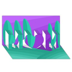 Purple and green landscape MOM 3D Greeting Card (8x4)