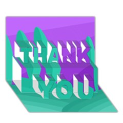 Purple and green landscape THANK YOU 3D Greeting Card (7x5)