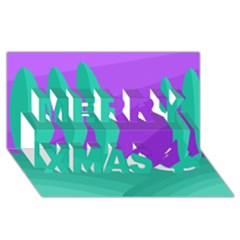 Purple and green landscape Merry Xmas 3D Greeting Card (8x4)