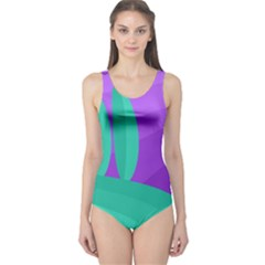 Purple and green landscape One Piece Swimsuit