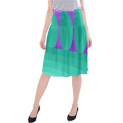 Purple and green landscape Midi Beach Skirt