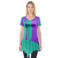 Purple And Green Landscape Short Sleeve Tunic