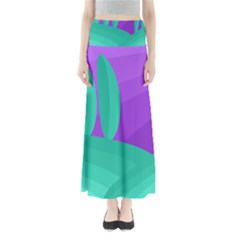 Purple and green landscape Maxi Skirts
