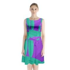Purple and green landscape Sleeveless Chiffon Waist Tie Dress
