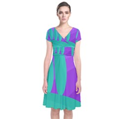Purple And Green Landscape Short Sleeve Front Wrap Dress