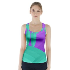 Purple and green landscape Racer Back Sports Top