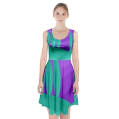 Purple And Green Landscape Racerback Midi Dress