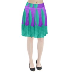 Purple and green landscape Pleated Skirt