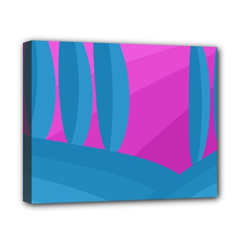 Pink and blue landscape Canvas 10  x 8