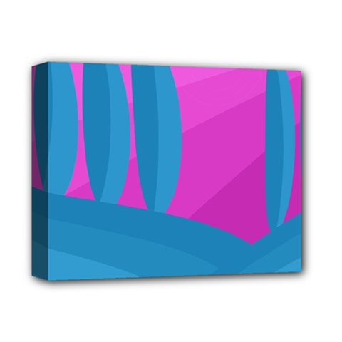 Pink and blue landscape Deluxe Canvas 14  x 11