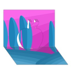 Pink and blue landscape Apple 3D Greeting Card (7x5)