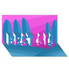 Pink and blue landscape BEST SIS 3D Greeting Card (8x4)