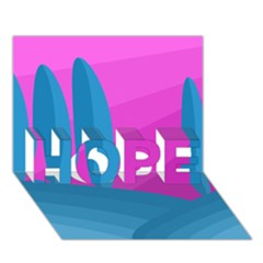 Pink and blue landscape HOPE 3D Greeting Card (7x5)