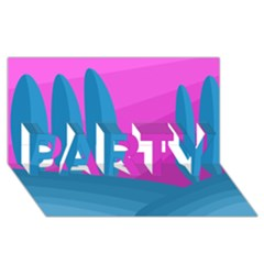 Pink and blue landscape PARTY 3D Greeting Card (8x4)