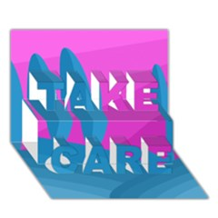 Pink and blue landscape TAKE CARE 3D Greeting Card (7x5)