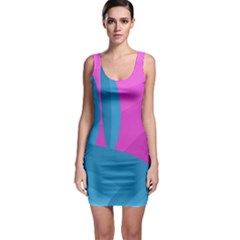Pink and blue landscape Sleeveless Bodycon Dress
