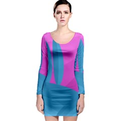 Pink and blue landscape Long Sleeve Bodycon Dress